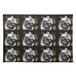 cute blue-eyed pug faces placemat