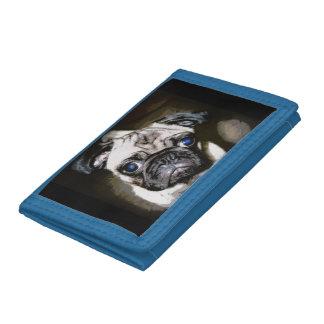 cute blue-eyed pug tri-fold wallet