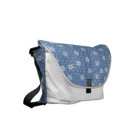 Cute blue faded denim floral small messenger bag