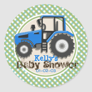 Cute Blue Farm Tractor; Green Plaid Baby Shower Classic Round Sticker