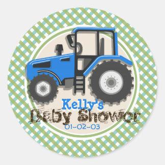 Cute Blue Farm Tractor; Green Plaid Baby Shower Classic Round Sticker