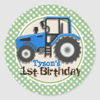 Cute Blue Farm Tractor; Green Plaid Birthday Classic Round Sticker