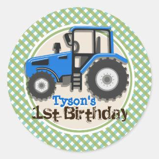 Cute Blue Farm Tractor; Green Plaid Birthday Classic Round Sticker