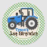 Cute Blue Farm Tractor; Green Plaid Birthday Stickers