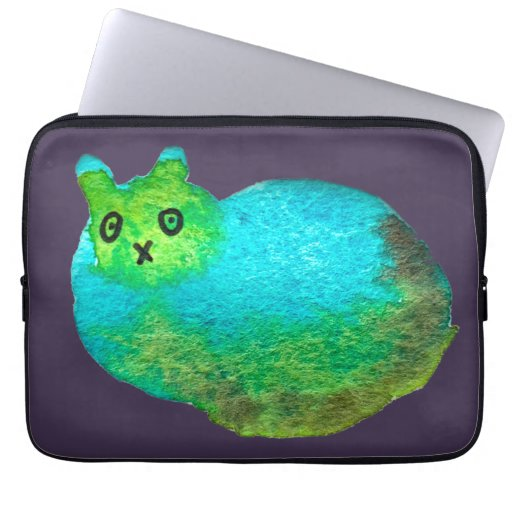 Cute blue fat cat art illustration laptop sleeve