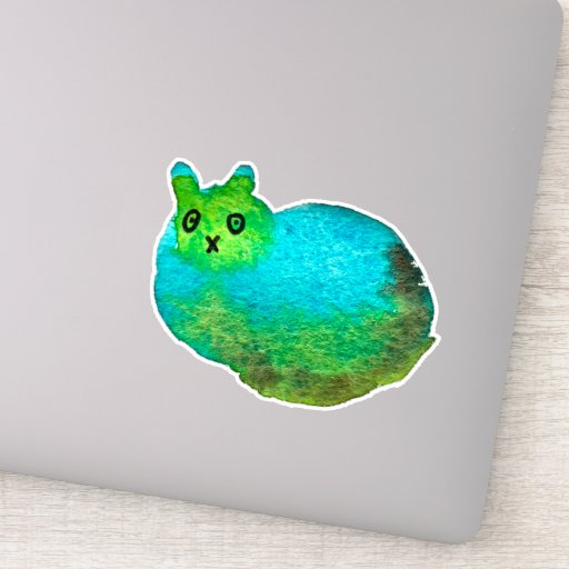 Cute blue fat cat art illustration sticker
