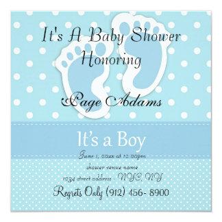 Cute Blue Feet & Dots Baby Shower Invitation