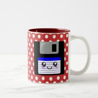 Cute Blue Floppy Disk Two-Tone Coffee Mug
