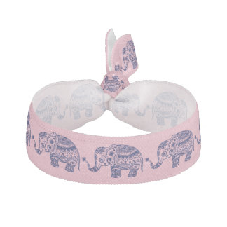 Cute Blue Floral Elephant Illustration Ribbon Hair Tie