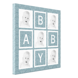 Cute Blue Floral Photo Grid Baby Boy or Girl Canvas Print