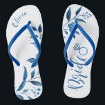 d482e0109 Cute blue floral wedding party bride flip flops br  div class