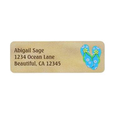Beach Themed Cute Blue Flower Flip Flops on Sand Beach Address Label