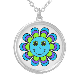 Cute Blue Flower Power Smiley Face Silver Plated Necklace