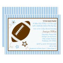 Cute Blue Football Baby Shower Card
