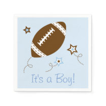 Cute Blue Football Baby Shower Napkin