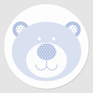 Cute Blue Friendly Bear Classic Round Sticker