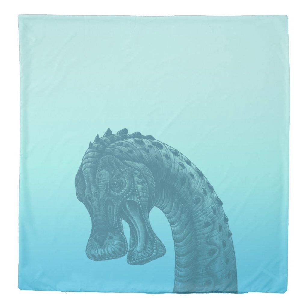 Cute Blue Geek Dinosaur Duvet Cover