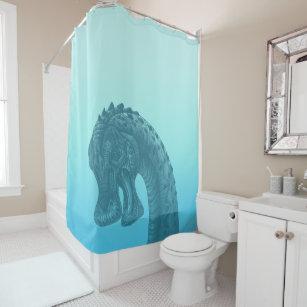 Cute Blue Geek Dinosaur Shower Curtain