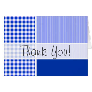 Cute Blue Gingham; Checkered Stationery Note Card