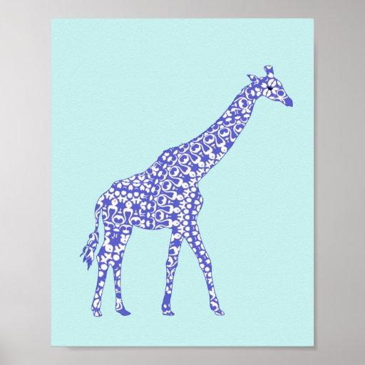 Cute Blue Giraffe Baby Nursery Wall Art Decor