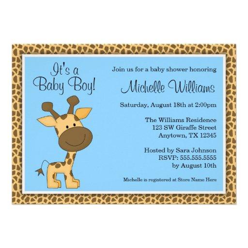 Cute Blue Giraffe Boy Baby Shower Personalized Invitation