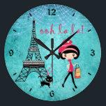 "Cute Blue Girl, Cat and Eiffel Tower Paris Clock<br><div class=""desc"">Cute Girl and Cat with Eiffel Tower ooh la la Paris Wall Clock.  Some graphics by Origins Digital Curio at www.etsy.com/shop/OriginsDigitalCurio.</div>"