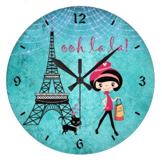 Cute Blue Girl, Cat and Eiffel Tower Paris Clock