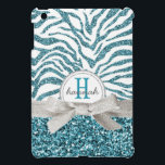 """Cute Blue Glitter Look Zebra with Monogram Bow Cover For The iPad Mini<br><div class=""""desc"""">Perfect for the girly girl who loves glittery, girly things and pretty colors! Bold zig zag pattern in white and a pretty bright aqua or turquoise type shade of blue colored glitter effect background on top, divided by a pretty silver gray colored ribbon tied in a dainty bow, and a...</div>"""