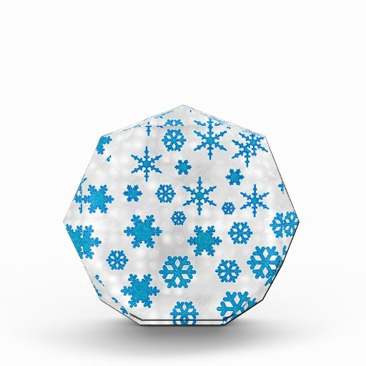 Cute Blue Glitter Snow Flakes on Snowy Background Acrylic Award