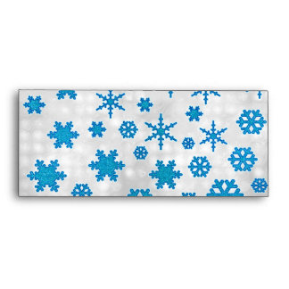 Cute Blue Glitter Snow Flakes on Snowy Background Envelope