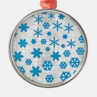 Cute Blue Glitter Snow Flakes on Snowy Background Metal Ornament