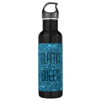 Cute Blue Glitter Sparkles 24oz Water Bottle