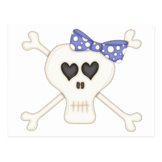 Cute Blue Goth Crossbones Post Card