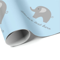 Cute blue gray elephant baby shower wrapping paper