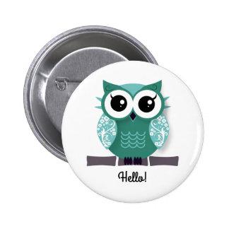 Cute blue green cartoon owl personalized text box pinback button