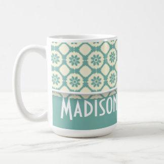 Cute Blue-Green & Cream Floral Coffee Mug