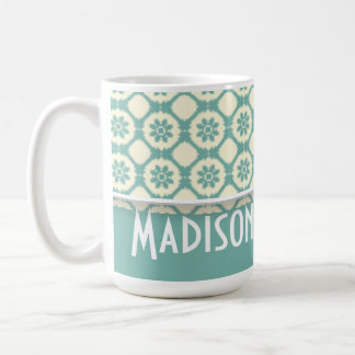 Cute Blue-Green & Cream Floral Classic White Coffee Mug