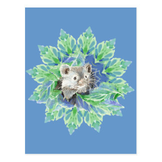 Cute Blue, Green Hamster in Leafy Bed for Kids Postcard