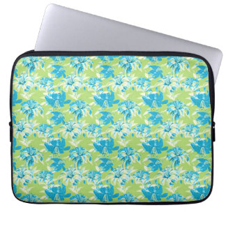 Cute blue green seamless lily floral laptop sleeve