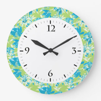 Cute blue green seamless lily floral large clock
