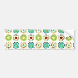Cute Blue Green Stars inside Circles Pattern Print Bumper Sticker