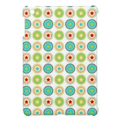 Cute Blue Green Stars inside Circles Pattern Print Case For The iPad Mini