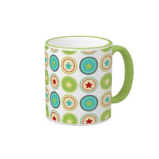 Cute Blue Green Stars inside Circles Pattern Print Coffee Mugs