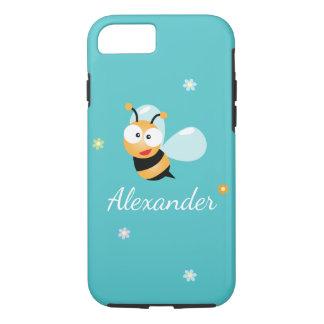 Cute Blue Green Sweet Bumble Bee Flowers Cartoon iPhone 8/7 Case