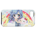 Cute blue haired girl with rainbow and stars iPhone 5 covers