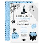 Cute blue Halloween illustrations boy baby shower Invitation