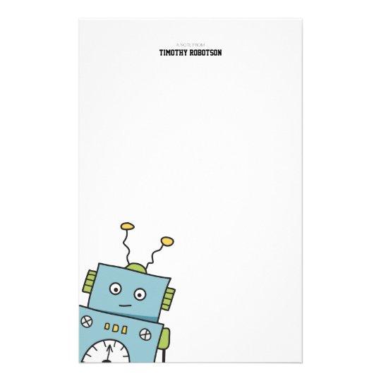 Cute Blue Hand Drawn Robot Stationery