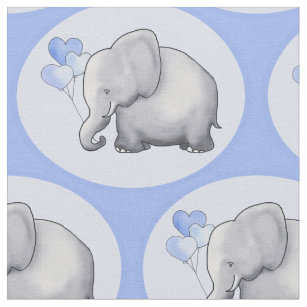 Cute Blue Heart Balloon Elephants Baby Boy Nursery Fabric