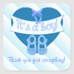 Cute Blue Heart with Bow Baby Boy Shower Thank you Sticker