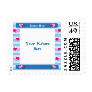 Cute Blue Hearts Baby Shower Picture Frame Stamp